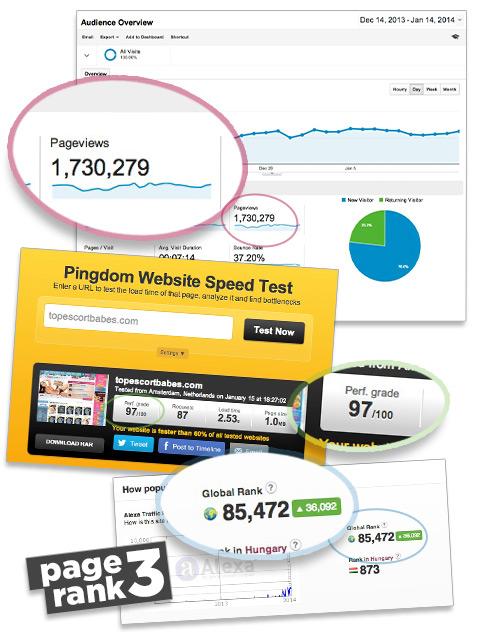 Analyitics over one million - Alexa under 100.000 - PageRank 3 - Pingdom 97/100